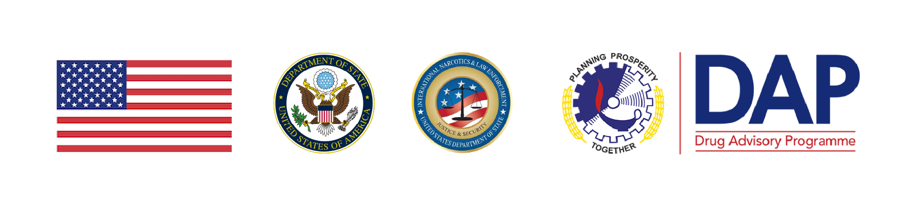 United States Flag, U.S Department of State seal. International Narcotics and Law Enforcement seal. Colombo Plan and DAP Logo
